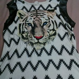 Tiger shirt with mock leather cuff sleeves